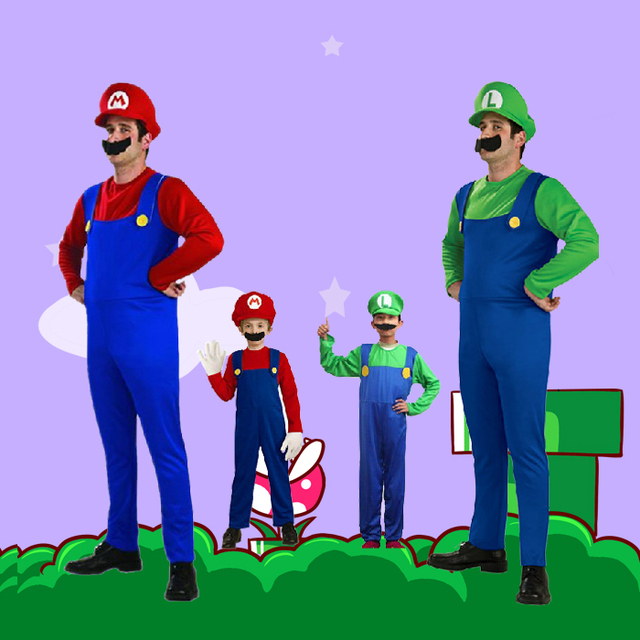 Free Shipping Kids Adult Super Mario Bros Cosplay Costume Set Halloween Party MARIO u0026 LUIGI Costume  sc 1 st  AliExpress.com : luigi costume for kids  - Germanpascual.Com