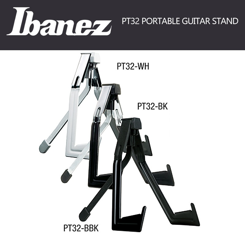 Ibanez PT32 Light Weight Stable Durable Guitar Stand - Metal Body and Foldable 3-point Support Construction ibanez gst62 bk guitar strap