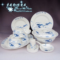 blue and white porcelain tableware Jingdezhen guci yi xing ceramic bone china porcelain ceramic bowl disc soup 56 sets shrimp.