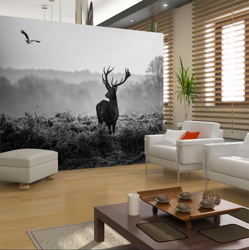 living room background. Reindeer photo wallpaper black and white pohto wallpapers for living room  background wall decor in Wallpapers from Home Improvement on Aliexpress com