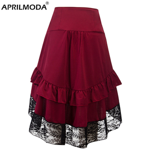 Image 2 - Costumes Steampunk Gothic Skirt Lace Women Clothing High Low Ruffle Party Lolita Red Medieval Victorian Punk Skater Button Front