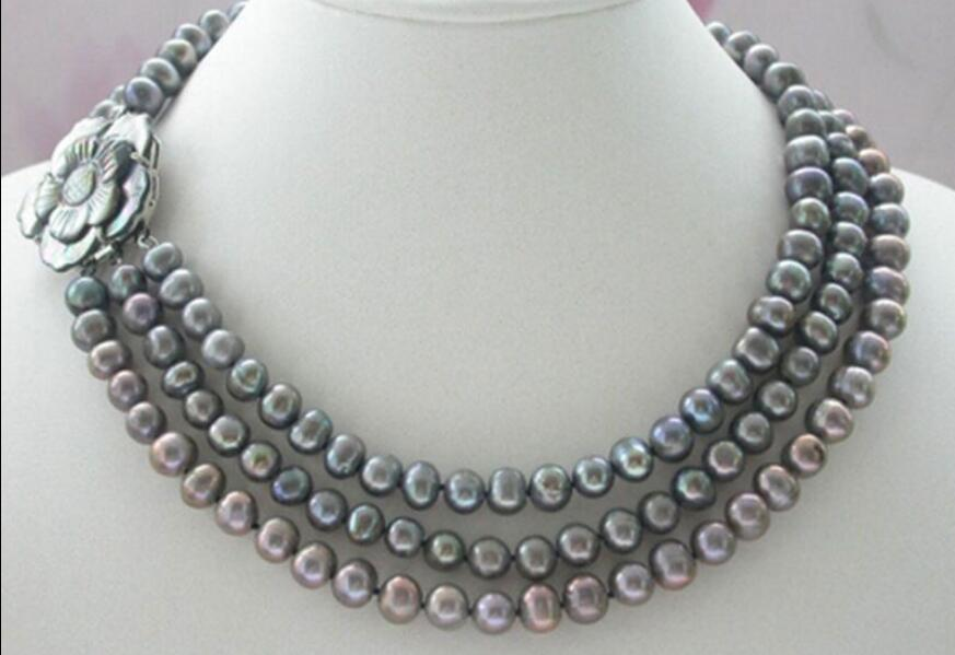 Beautiful Noble 3strands 7-8mm grey Freshwater pearl Necklace Flower Shell Clasp