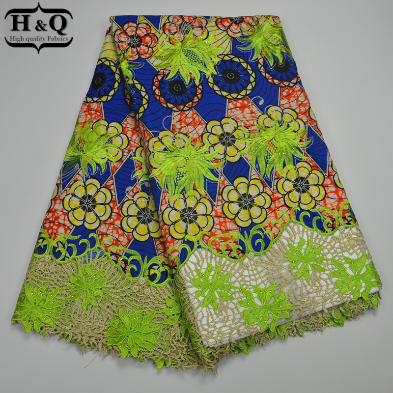 Most popular African Wax Lace Fabric High Quality Embroidered With Stone Ankara Lace Fabric 6 yards