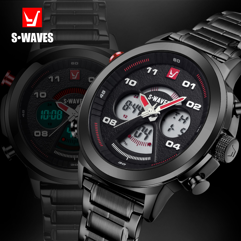 SWAVES Dual Display Horloges Luxe Merk Heren Wach Quartz Waterdicht - Herenhorloges - Foto 1