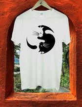 купить Funny Kung Fu Tai Chi Symbol Cute Cat Boys Men T Shirt Tshirt Tee M37 Men'S T-Shirts Summer Style Fashion Swag Men T Shirts. дешево