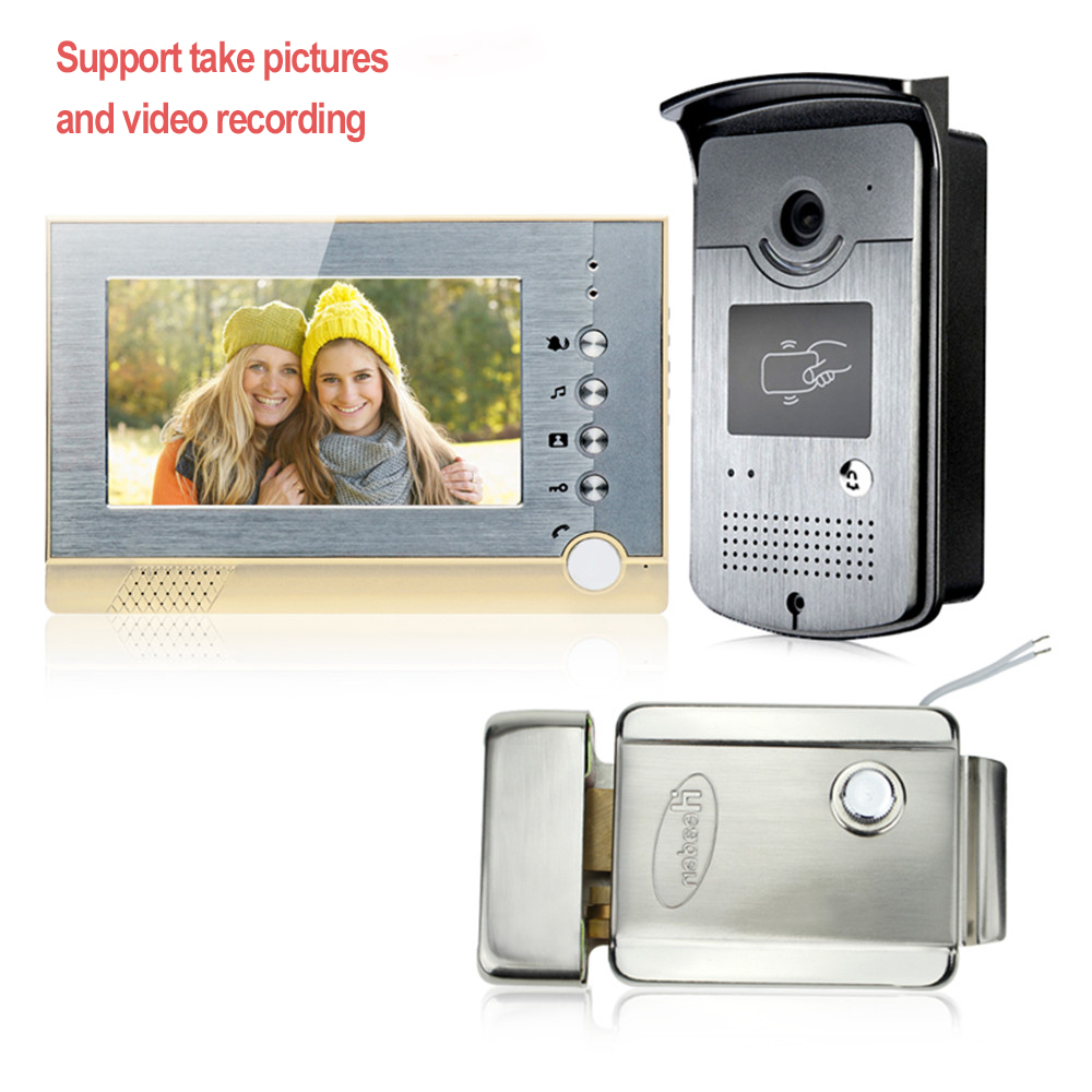 New 7inch color video door phone intercom doorbell system can take picture and recording +RFID camera EM ID with electric lock door intercom video cam doorbell door bell with 4 inch tft color monitor 1200tvl camera