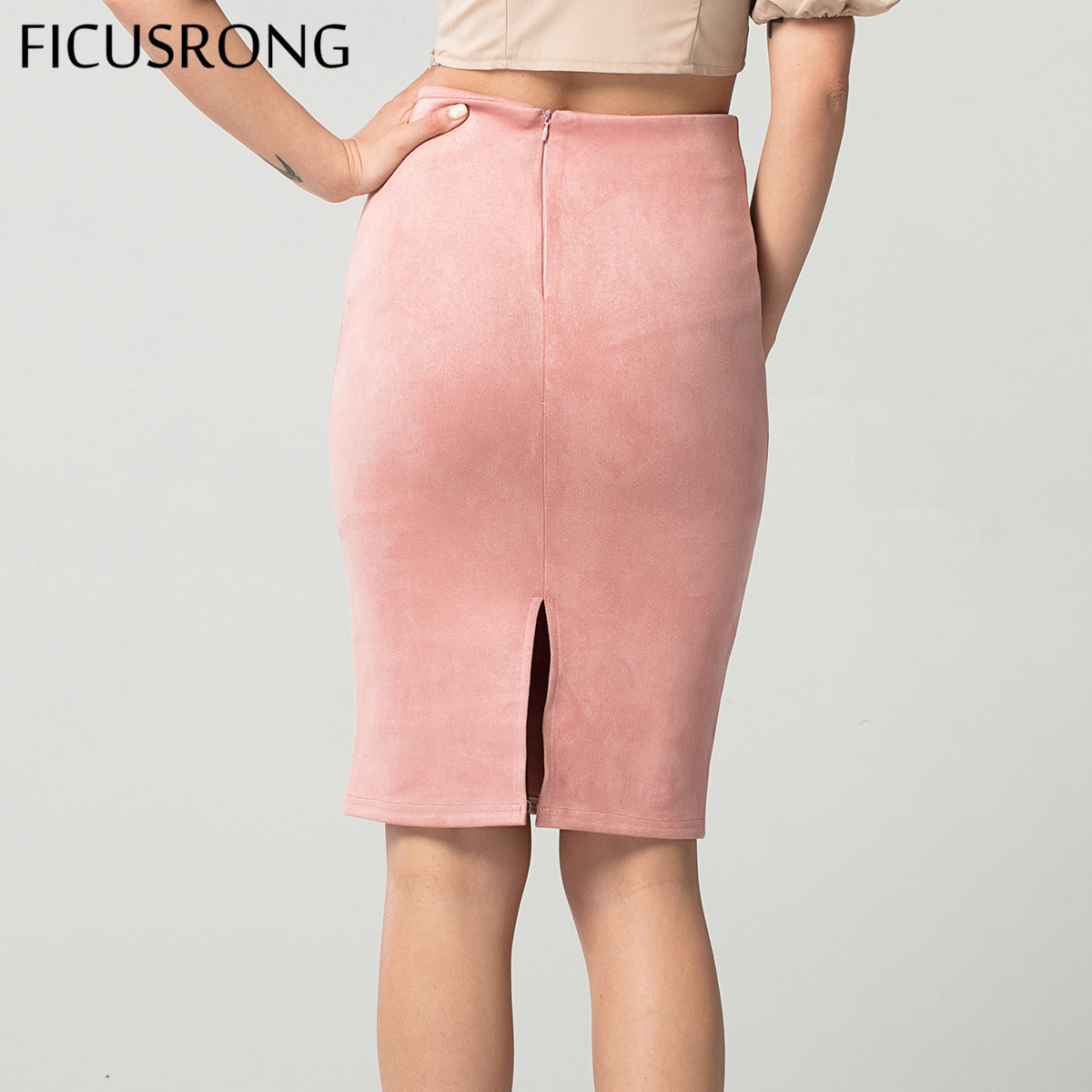 Women Skirts Suede Solid Pencil Skirt Female Autumn Winter High Waist Bodycon Vintage Split Thick Stretchy