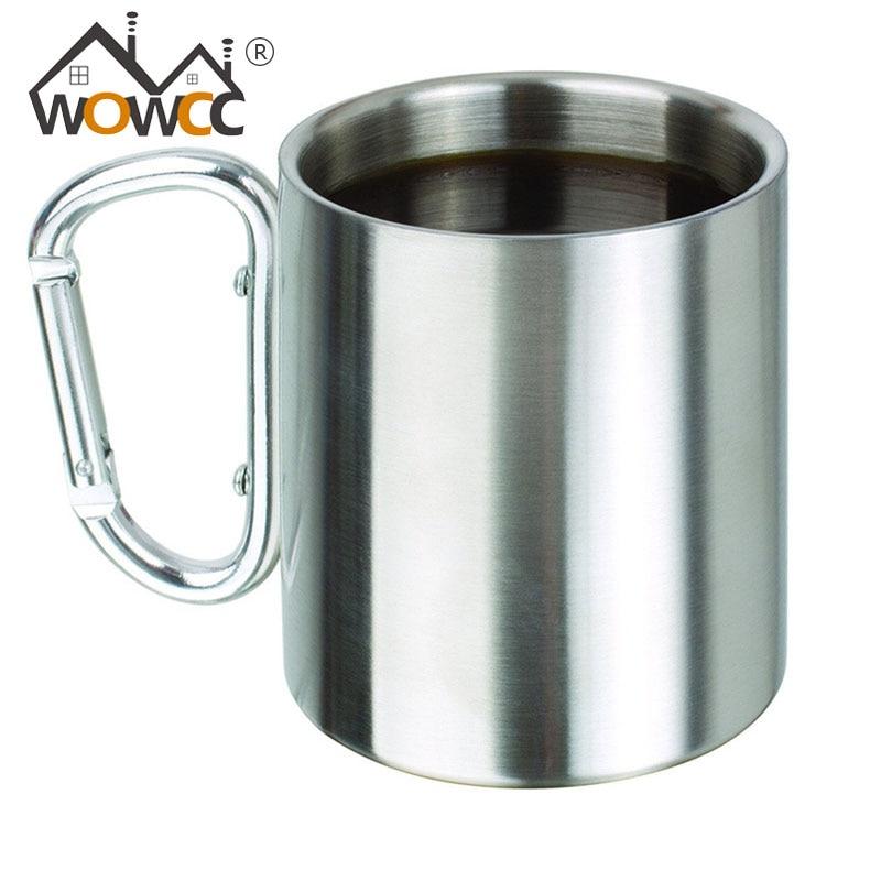 WOWCC 1pc 350ML Stainless Steel Portable Mug Cup Double Wall Travel Tumbler Coffee Mug Tea Cup Caneca Beer Mug Outdoor Water Cup