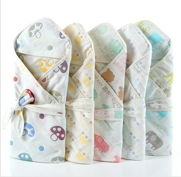Newborn Baby Swaddle Blanket Children 6 layers Bath Shower Products Towel Newborn Infant Swaddle Wrap Envelope Hooded Kids Gift ...