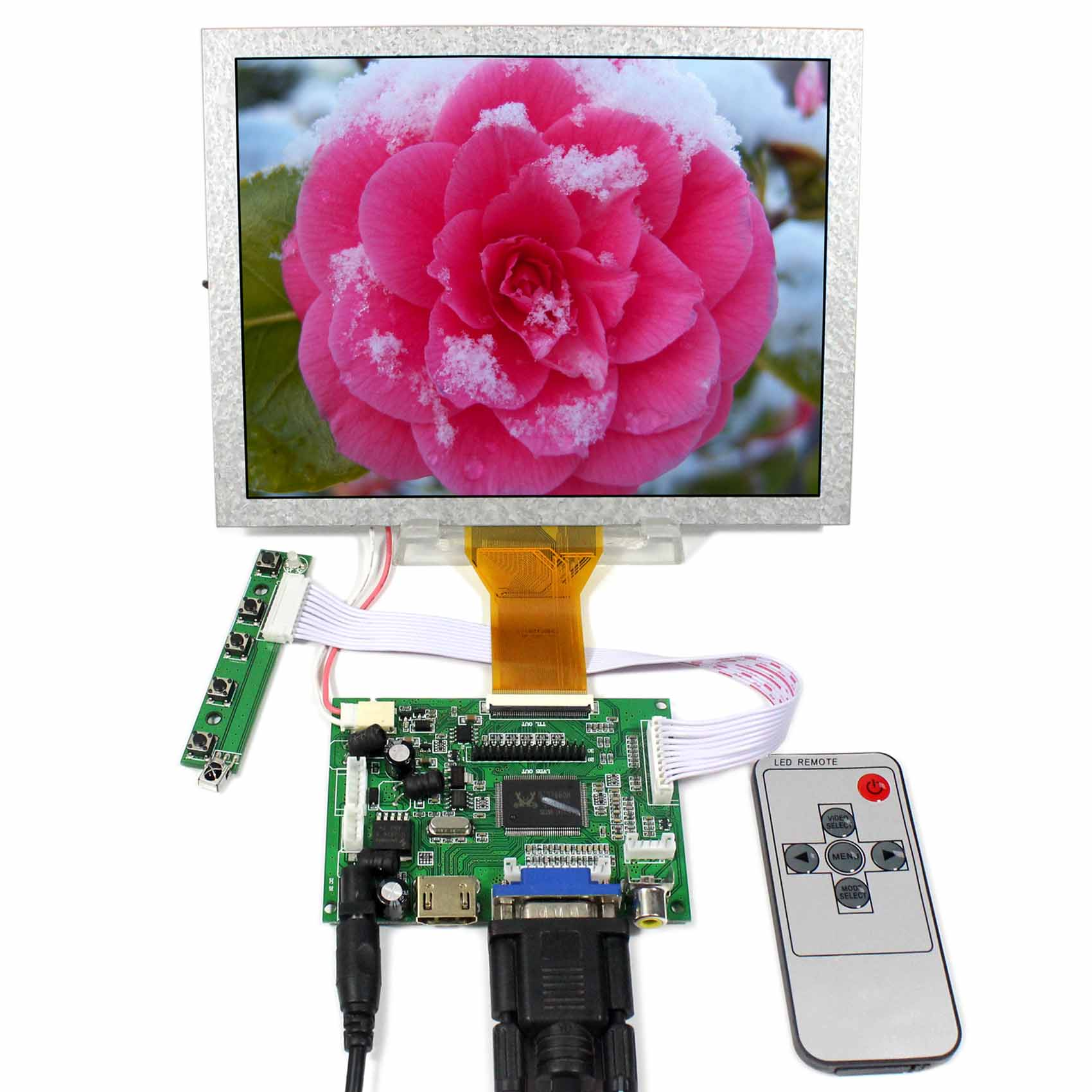 HDMI VGA 2AV+Reversing Driver board + 8inch AT080TN52 EJ080NA-05A 800x600 LCD Panel hdmi vga av audio usb fpv controller board 8inch 800x600 ej080na 05a lcd panel screen model lcd for raspberry pi