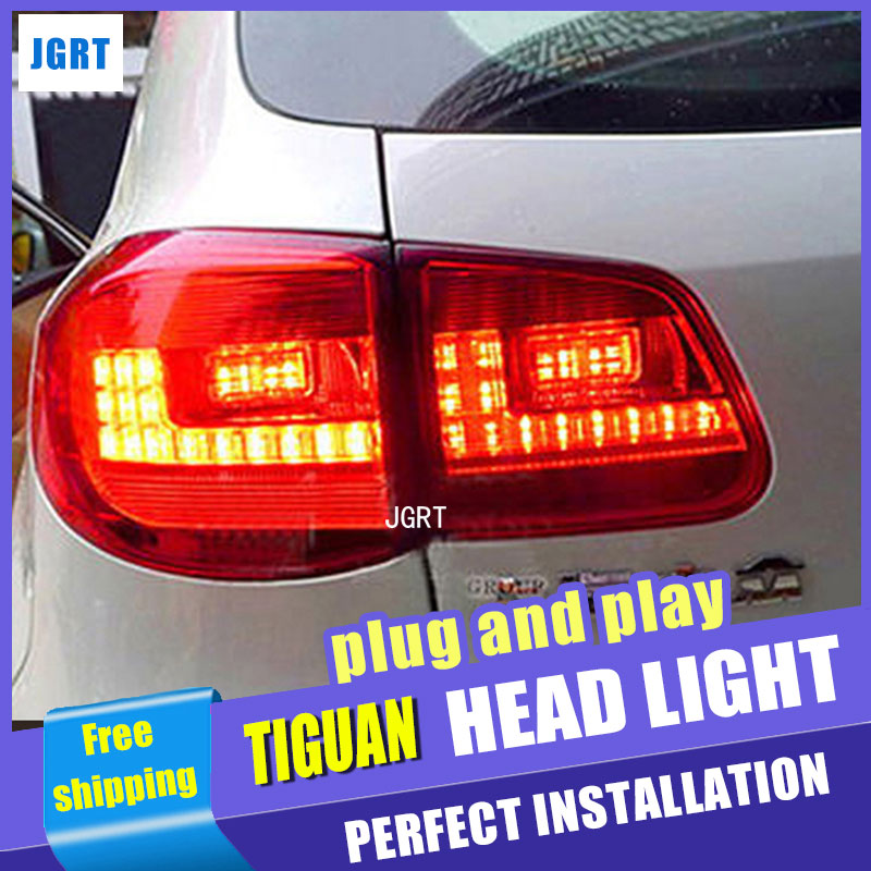 Car Styling for VW Tiguan Taillights 2010-2012 Tiguan LED Tail Light Rear Lamp LED DRL+Brake+Park+Signal car window door luggage rack stainless steel frame trims for volkswagen vw tiguan 2008 2012 2010 2017 styling kit
