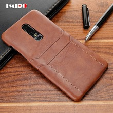 IMIDO Wallet Leather PU Phone Case For One Plus 6T 6 Luxury Vintage Back Cover 1+6T Silicone Coque Fundas Capa
