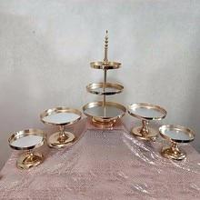5 sztuk galwanizacja złota 1 zestaw ciasto stojak tort weselny taca