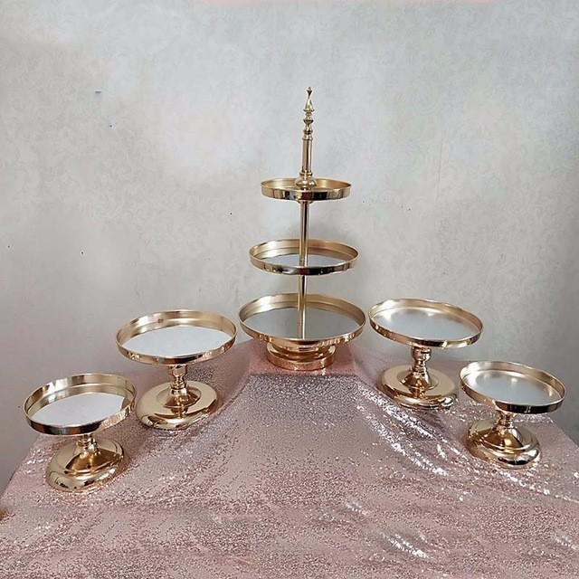 5pcs אלקטרוליטי זהב 1 סט עוגת מסיבת חתונה עמדת עוגת מגש