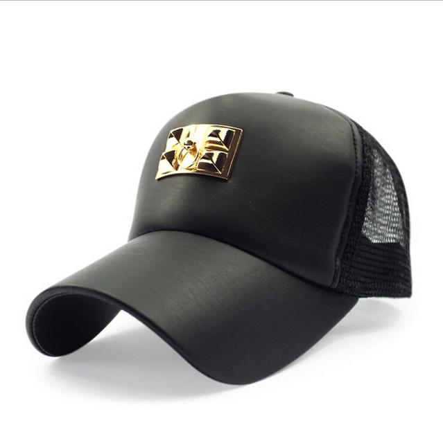 Alta qualidade PU com malha Snapback Basball Cap fivela de ouro decoração bordado esporte