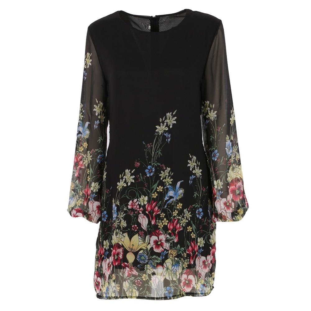 2017 summer dress mujer de manga larga de gasa sweet vestidos simples de impresi