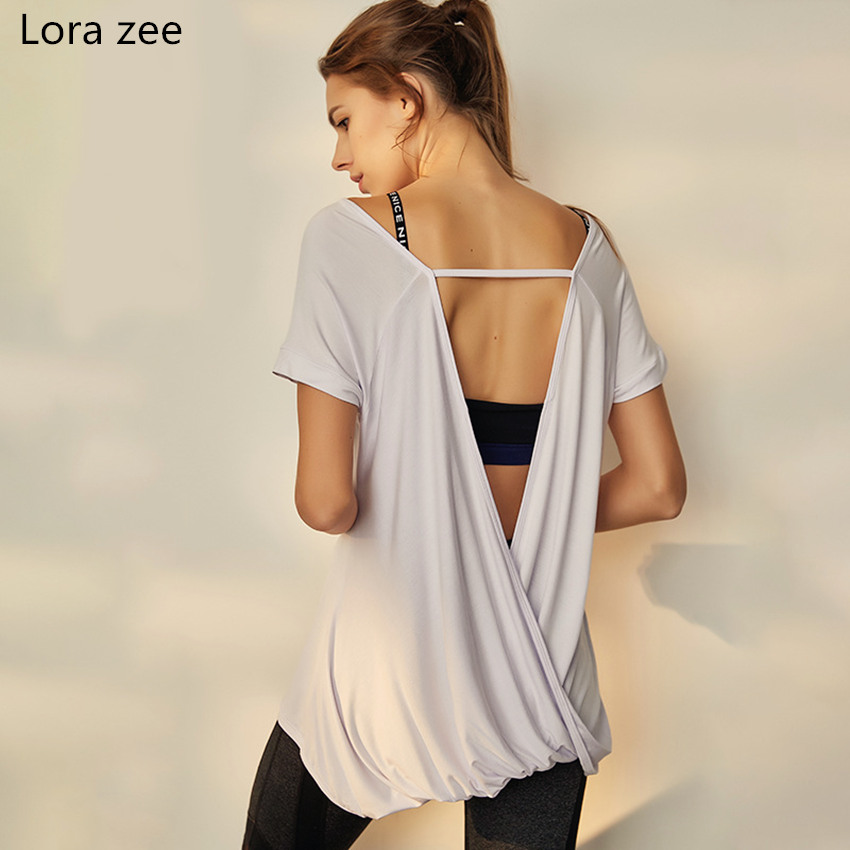 LORA ZEE Knot back Workout Shirts White Yoga Tops Open Back T-Shirt for Women Running Fitness Sports Short Sleeves Gym Blouses