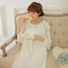 New Arrival Women Sleepwear Chiffon Nightgowns White Long Princess Nightdress Lady Royal Retro Vestidos H1828