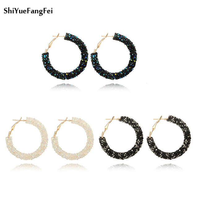 Fashion Bohemian Crystal Rhinestone Beads Big Hoop Earrings For Women Gold Color Handmade Party Earrings Brincos Charm Jewelry