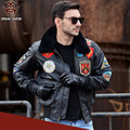 FREE SHIPPING 2017 Top Gun Men Flight Leather Jacket Brown Wool Collar Genuine Cowskin Plus Size XXXXXL Men Winter Military Coat