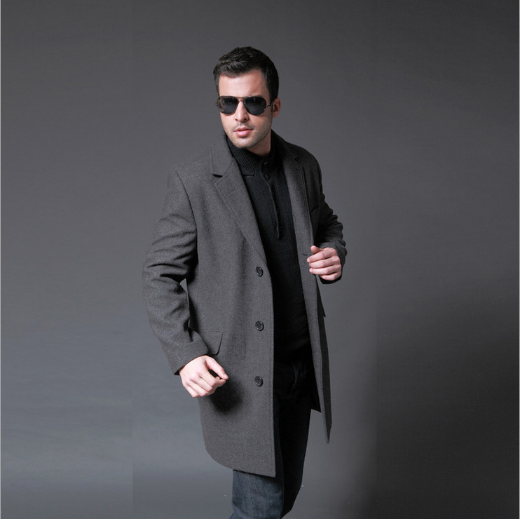 EMS Freeship Fashion 2015 Jacket for Men Business Wool Clothing Casual Grey  Men\u0027s Trench Coat Peacoats Outdoors Winter Overcoat,in Wool \u0026 Blends from  Men\u0027s