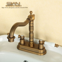 Antique Brass Double Ceramic Handle Bathroom Lavatory Vessel Sink Basin Faucet Mixer Tap 2211002
