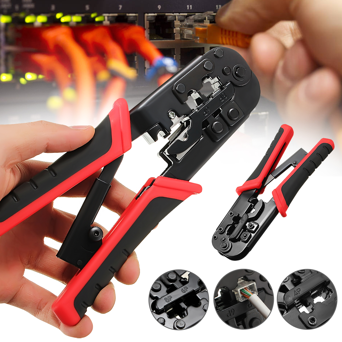 Doersupp 1PC Network Crimping Plier Multifunctional Ethernet Network Cable Crimp Tool LAN Crimper Cutter Pliers Hand Tool|Pliers| |  - title=