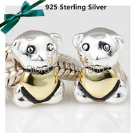 1 1 Legal Copy 925 Sterling Bear With Heart Charm Accessorie Beads Fit For Fashion Bracelet