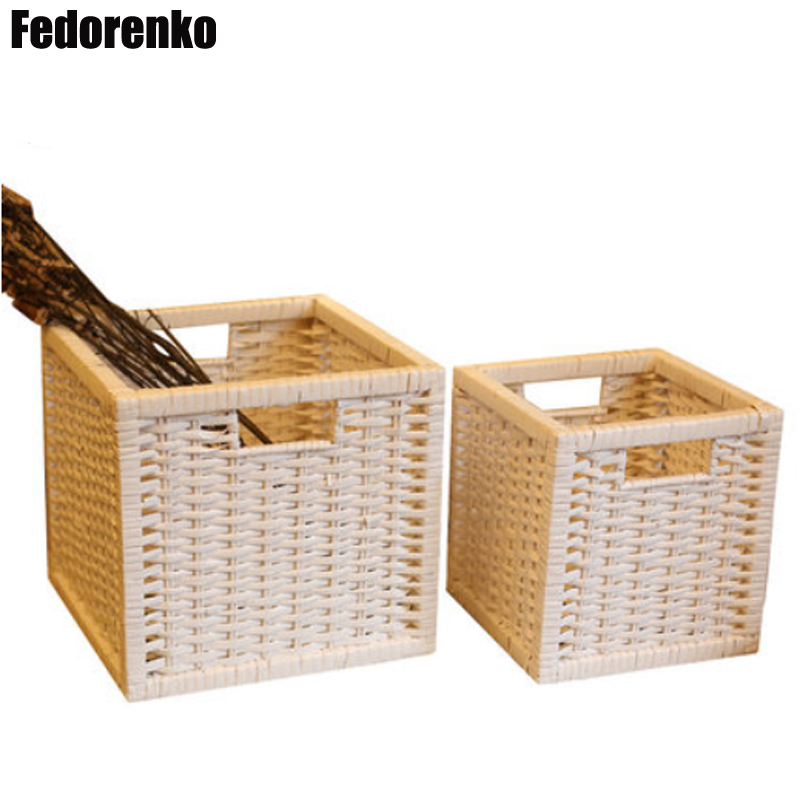 Us 29 9 30 Off Large Storage Baskets Wicker Basket Laundry Fabric Basket Small Decorative Storage Basket Rattan Box Sundries Organizer Wasmand In