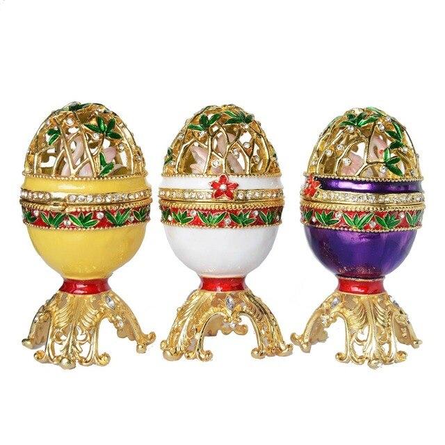 Russe artisanat style fabergé oeuf De Pâques w cygne bejeweled bijou boîte  boîte à bijoux en