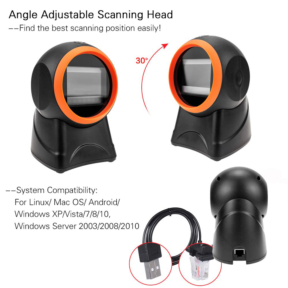 ISSYZONEPOS 1D 2D Desktop Hands Free USB Barcode Scanner Mobile Payment Computer Screen Omnidirectional Reader Scan Data Matrix in Scanners from Computer Office