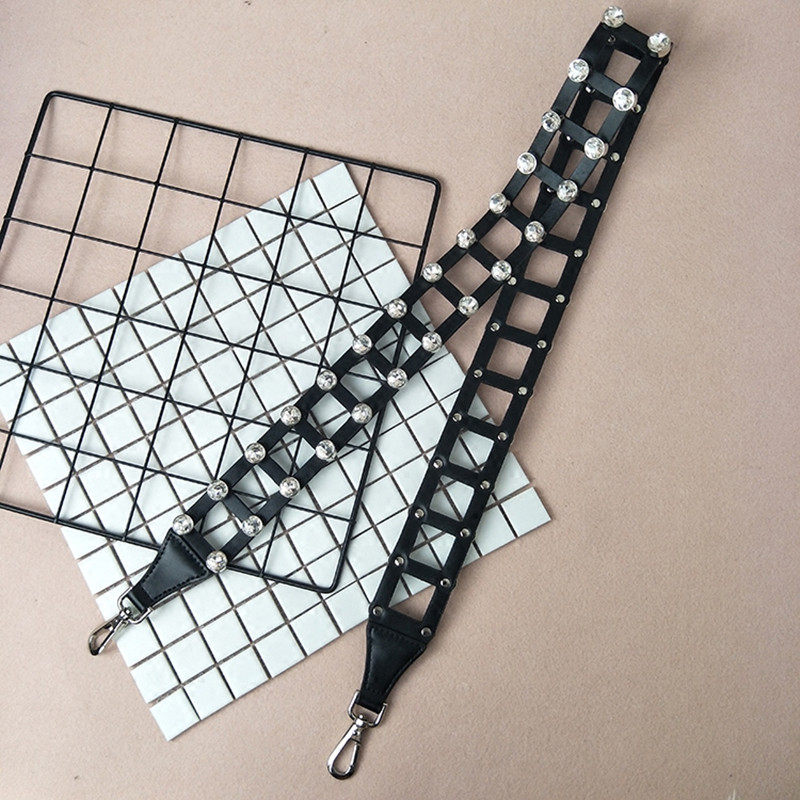 hollowed wide shoulder strap crystal diamond long shoulder strap bag accessories single shoulder sloping white bag with