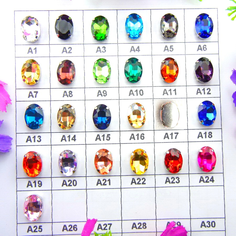 Glass Crystal Silver artw settings 7 Taglie Vari colori mix Forma - Arti, mestieri e cucito