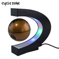 Fashion Home Decoration LED Floating Tellurion C Shape Magnetic Levitation Floating Globe World Map With LED