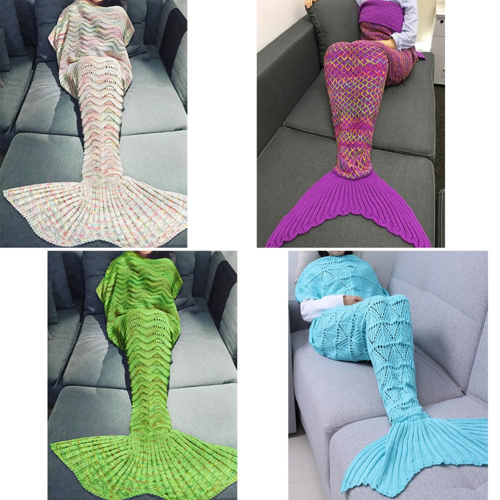 Bebek battaniyesi modelleri battaniyeleri car pictures - 2017 Yeni Mermaid Desen T Rme Mermaid Tail Of K Battaniye Ocuk Battaniye Kanepe Mat Y Ksek Kalite