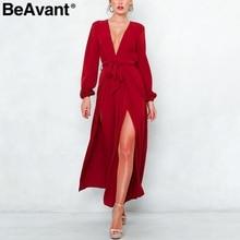BeAvant V neck wide leg jumpsuit romper women Long sleeve elegant jumpsuit  female Sash high waist dbf2433e50f7