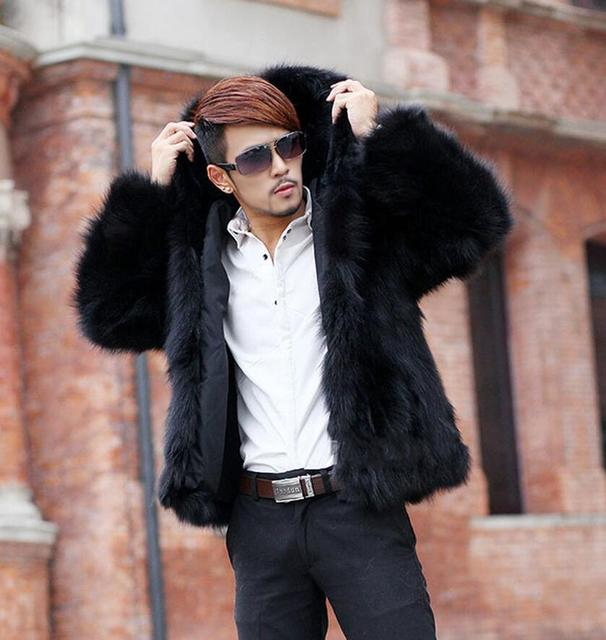 2015 Winter men's hooded faux fox fur coat, Men solid color fur jackets, Thickening warm winter fashion leisure male overcoats