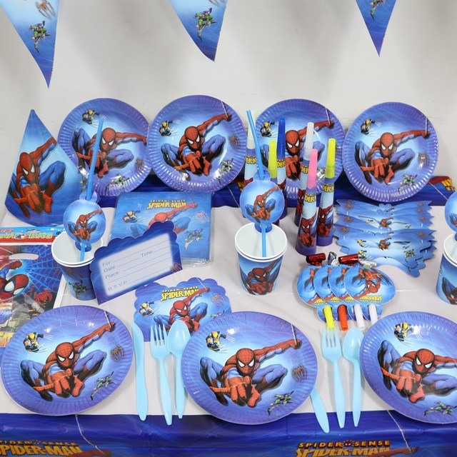 1pack 37pcs wholesale cartoon spider man kids 1st birthday theme party supplies kids party decoration supplies - Party Decoration Stores