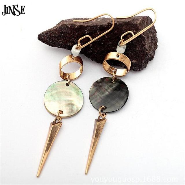 Jinse Vintage Handmade Round Natural S Pendant Dangle Earrings Zinc Alloy Gold Hook Spike