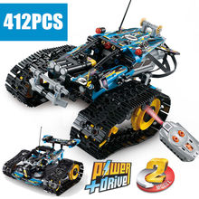 New MOC RC TRACKED RACER car Electric Motor Power Function fit technic city Building Block brick Model kid gift(China)
