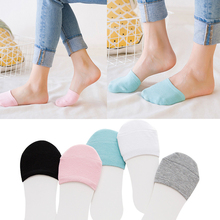 5 Pairs Invisible Socks for Women No Show Non-slip Toe Cover Summer Cotton Breathable Half Foot Short