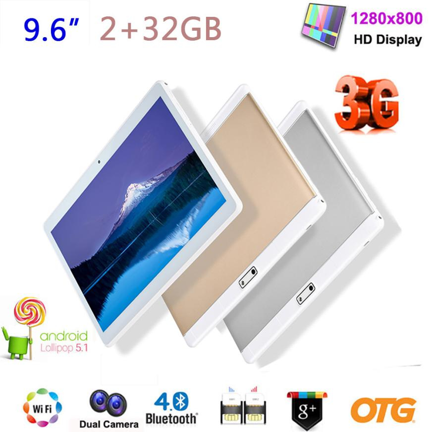 Hot sale 2GB+32GB TABLET PC 9.6 IPS ANDROID 6.0 QUADCORE Dual SIM 3G WIFI GPS OTG BT FM New 18Mar16 мобильный телефон lg g flex 2 h959 5 5 13 32 gb 2 gb gps wcdma wifi