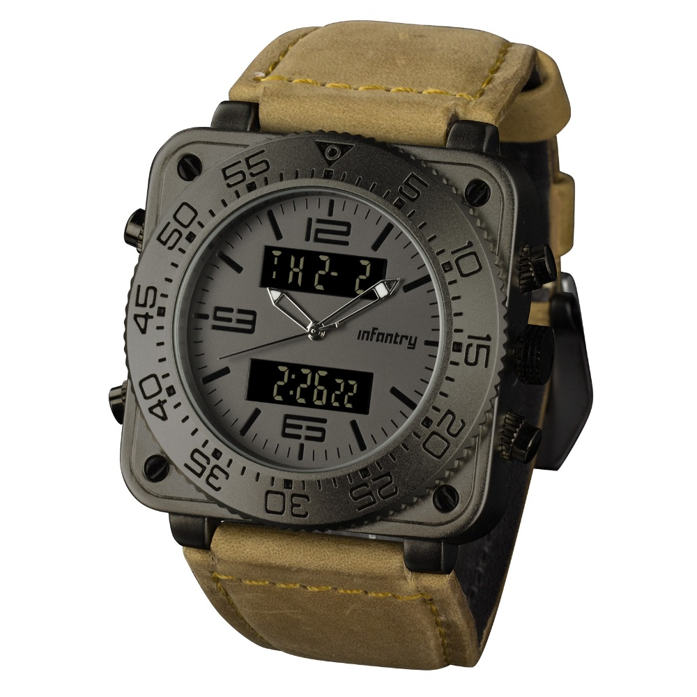INFANTRY Top Brand Luxury Men Chronograph Watches Luxury Multi function Quartz Clock Leather Wristwatches Men watch