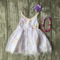 Summer Baby Girls Clothing Boutique Cute Princess Dress White Floral Cotton Yarn Skirt Lace Match Accessories