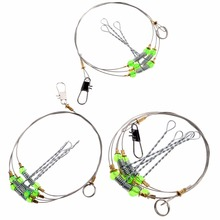 OOTDTY Fishing Hooks Anti-Winding Swivel String Sea Fishing Hook Steel Rigs Wire Leader Fish Hooks 10pcs 5 6 7 8 9 10 11 12 13 carbon steel leader wire line hook anti bite with swivel fishing accessor steel wire hook