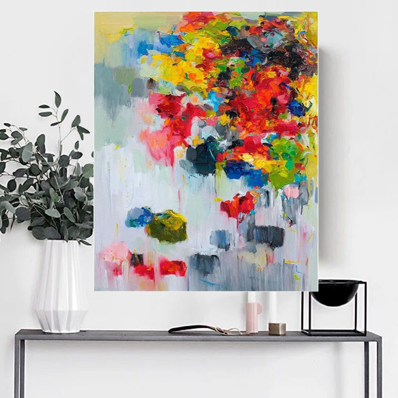 Handmade Red Knife Flower Painting Abstract Paintings on Canvas New Style Still Life Painting Hang Picture Decor Oil Painting in Painting Calligraphy from Home Garden