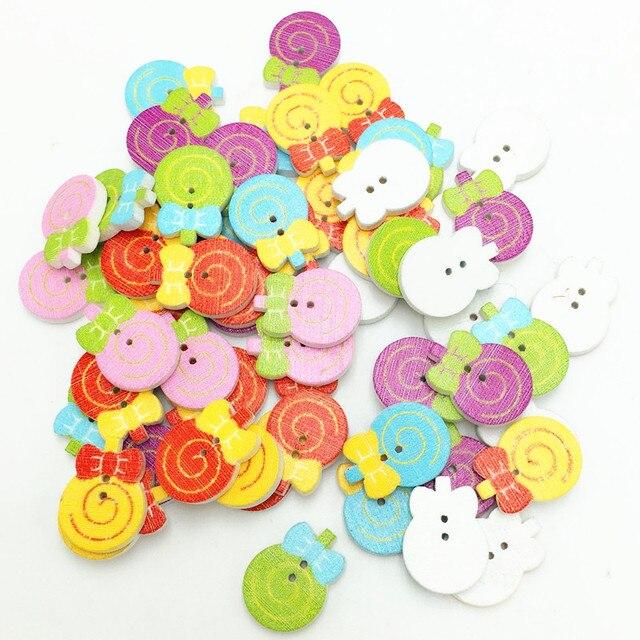 50 stücke Multicolor Lollipop Holz taste Zum Nähen Scrapbooking 2 ...