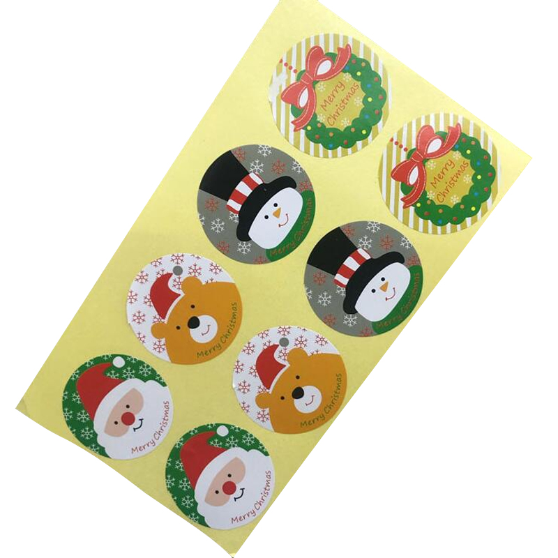 80pcs/lot Christmas Santa Clause Bear Snowman Round Self-adhesive Sealing Label Stickers Kraft Baking DIY Gift Stickers
