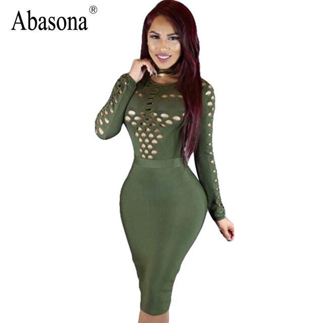 cd6fb607aa Abasona Sexy o neck cut out bodycon dress Casual long sleeve hollow out women  dress Elegant black party summer dress vestidos