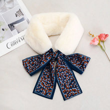 New wool scarf female spring and autumn net red ribbon leopard pattern bow collar neck